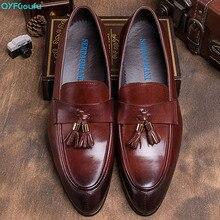 QYFCIOUFU 2019 Handmade tassel formal shoes Men Wedding Office Formal Cow Skin Oxford Shoes Male Flat Footwear Mens Dress