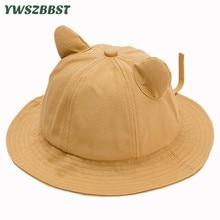Solid Color Cute Ear Children Kids Sun Hats Baby Girls Hat Fisherman Cap Boys Sunscreen Beach Caps Bucket