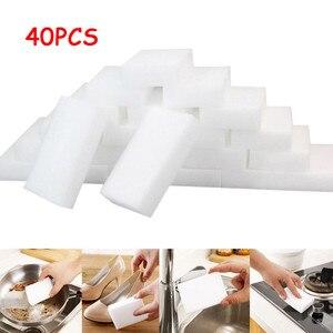 Image 2 - 45 個ホワイトマジックスポンジ消しゴムクリーニングメラミンフォームクリーナーキッチンパッドキッチンアクセサリーメラミンスポンジ洗濯