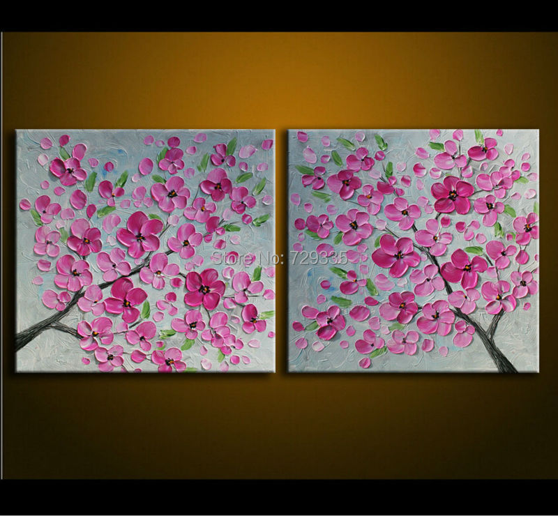 Buy handmade 2pcs oil painting on canvas for How paint on canvas