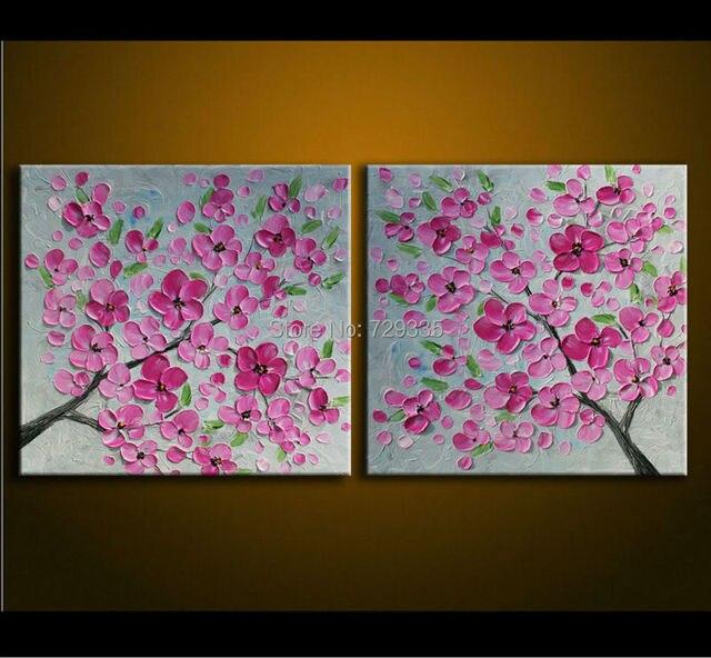 Handmade 2pcs oil painting on canvas palette knife pink tree flowers handmade 2pcs oil painting on canvas palette knife pink tree flowers painting modern decoration painting canvas mightylinksfo