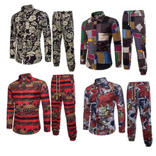 Europe Ethnic Style Male Tracksuit Holiday Set Floral Shirts Pants Man Travel Wear Suits 5XL Big Size Clothing Long Sleeve 2019