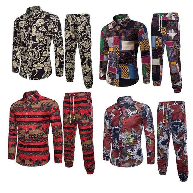 380f538e54e Men Shirts Floral Ethnic Style Costume Male Travel Wear 2019 New Holiday  Set Vintage Print Shirt Pants Man Long Sleeve Suits 5XL