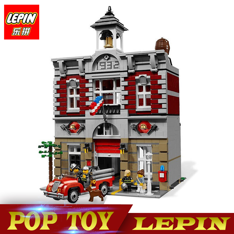 New Lepin 15004 2313Pcs City Street Fire Brigade Model Building Kits Blocks Bricks Compatible legoed 10197 Brick lepin 15004 2313pcs city creator series fire brigade model building blocks bricks toys for children gift compatible 10197