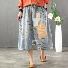 Summer Woman Vintage Nation Style Washed Jeans Skirt Floral Print Elastic Waist Denim Long Skirt Oversized Loose Casual Skirt недорого