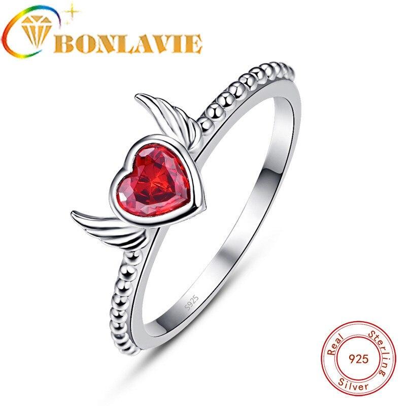 2d2fbb3c3a46 Cheap BONLAVIE de Diseño de Moda de Color rojo CZ anillos de plata  esterlina 925 encantadora