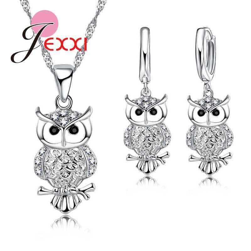 Cartoon Schmuck Set Für Mädchen Marke Design Mode Tier 925 Sterling Silber CZ Kristall Ohrringe Neckalce Anhänger Set