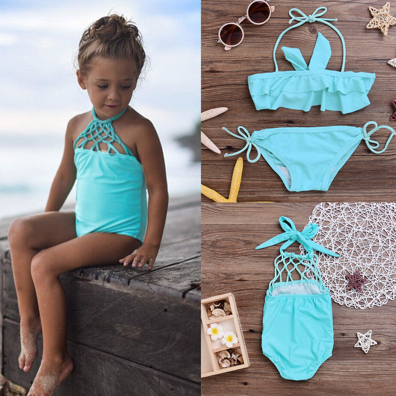 Summer Baby Girls Kids Beachwear Bathing Suit Swimwear Bikini Set Tankini Swimsuit Costume