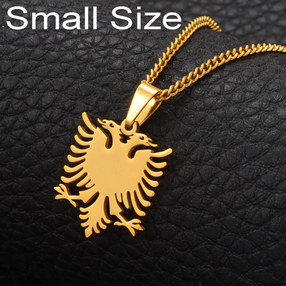 Anniyo, ожерелье с подвеской в виде орла из Албании, маленького размера, золотистого цвета, ювелирные изделия из нержавеющей стали, этнические ...
