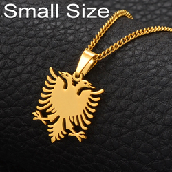 Anniyo Albania Eagle Small Size Pendant Necklaces Gold Color & Stainless Steel Jewelry Ethnic Gifts for Women Girls Kids #110221