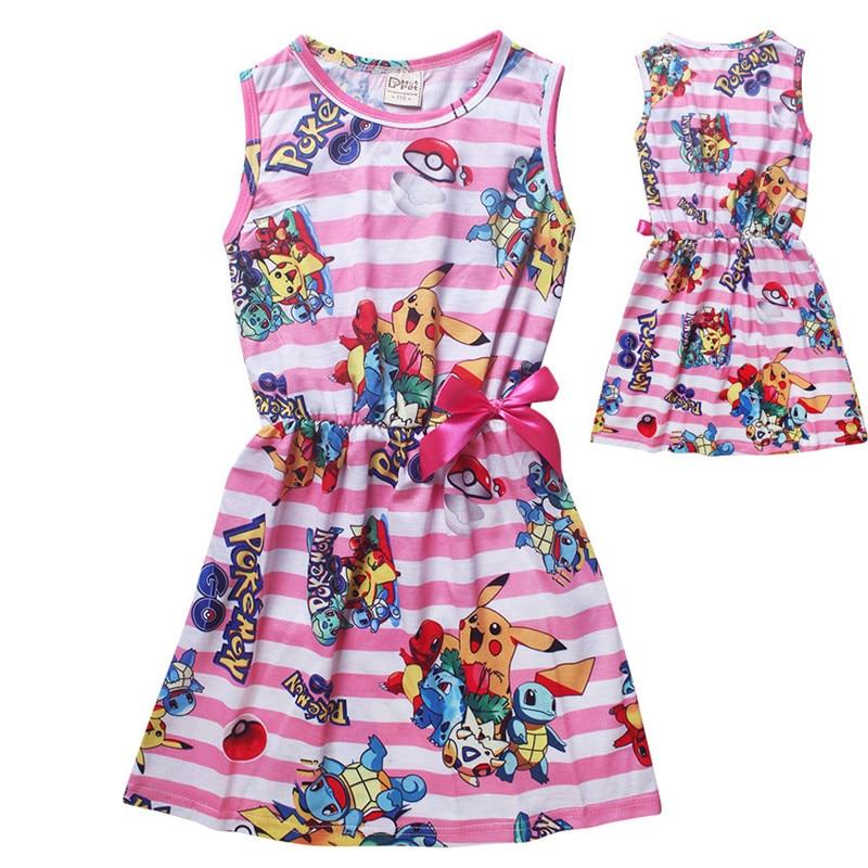 Cartoon christmas dress girl clothing summer pikachu kids clothes girls dresses pokemon go children disfraz infantil
