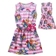 Bande dessinée de noël robe fille vêtements d'été pikachu enfants vêtements filles robes pokemon aller les enfants disfraz infantil navidad