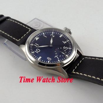 часы с секундной стрелкой   Часы Parnis 47 мм черный циферблат маленький второй световой 6498 механический ручной Ветер Движение Мужские T мужские часы P92