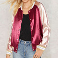 Autumn spring Women Luxe Slik Satin Bomber Jackets Classic Outwear Female long sleeve Fashion Single Breasted baseball Jacket