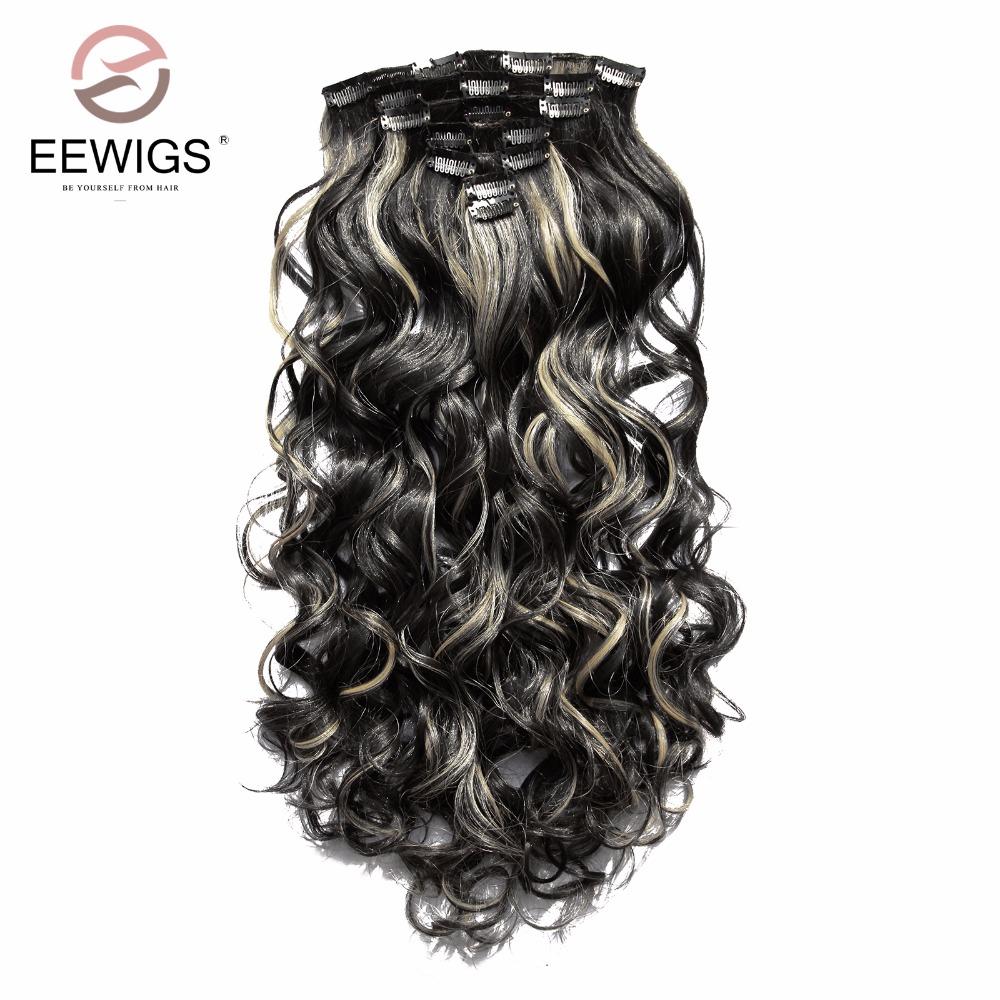 Hot Sale 7pieceslot 28inch Synthetic Clip In Hair Extension Wig