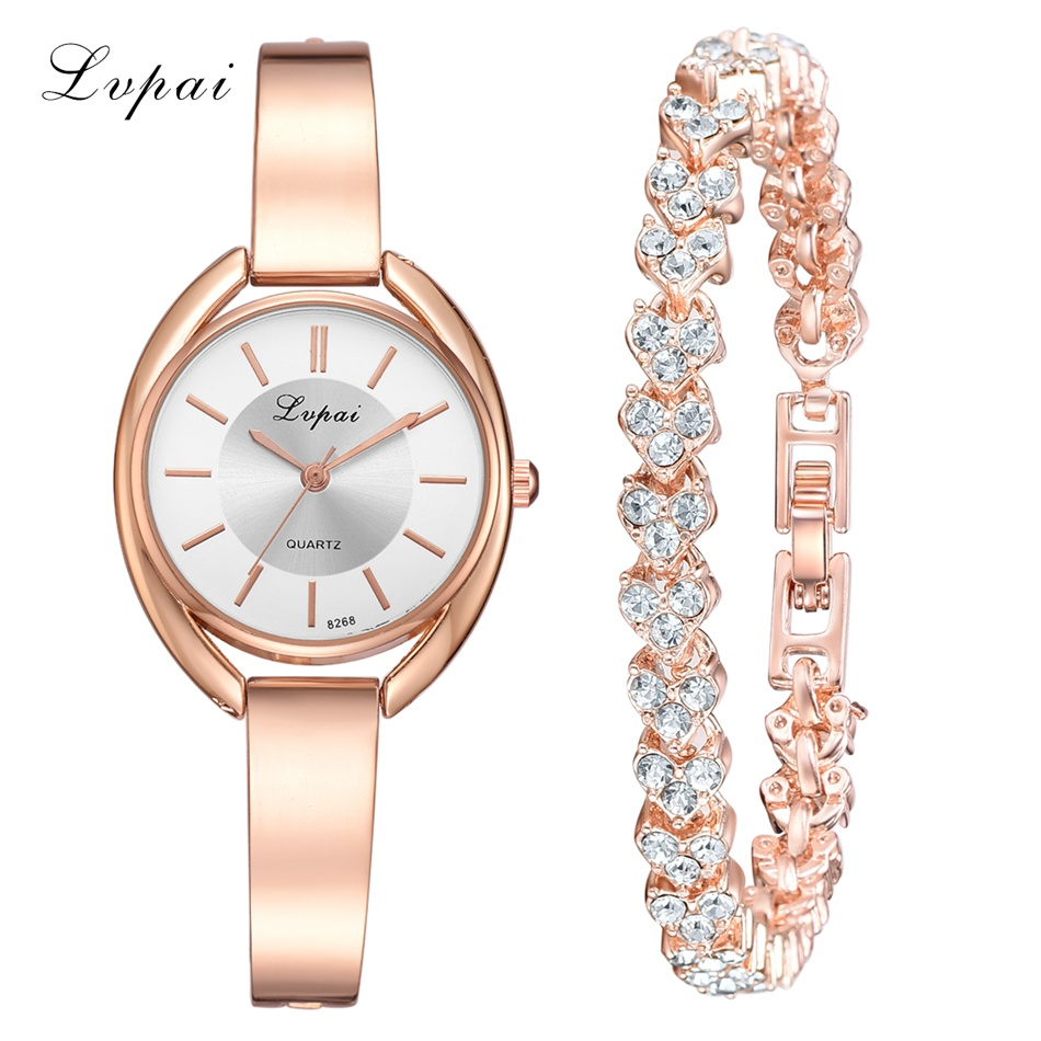 Lvpai Top Brand Fashion Women Watches Casual Quartz Stainless Steel Band Bracelet Watch Analog Diamond Bracelet Luxury Watch