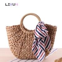 Designer High Quality Bohemian Rainbow Tassel Straw Beach Bag Woven Hairball Tote Handbags Women Summer Scarves