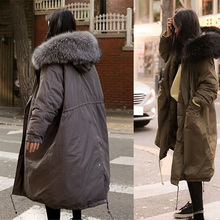 2016 New Large Raccoon Fur Coat Winter Jacket Women Thicken Warm Padded Cotton Parkas Army Green Long Coat Military Parka