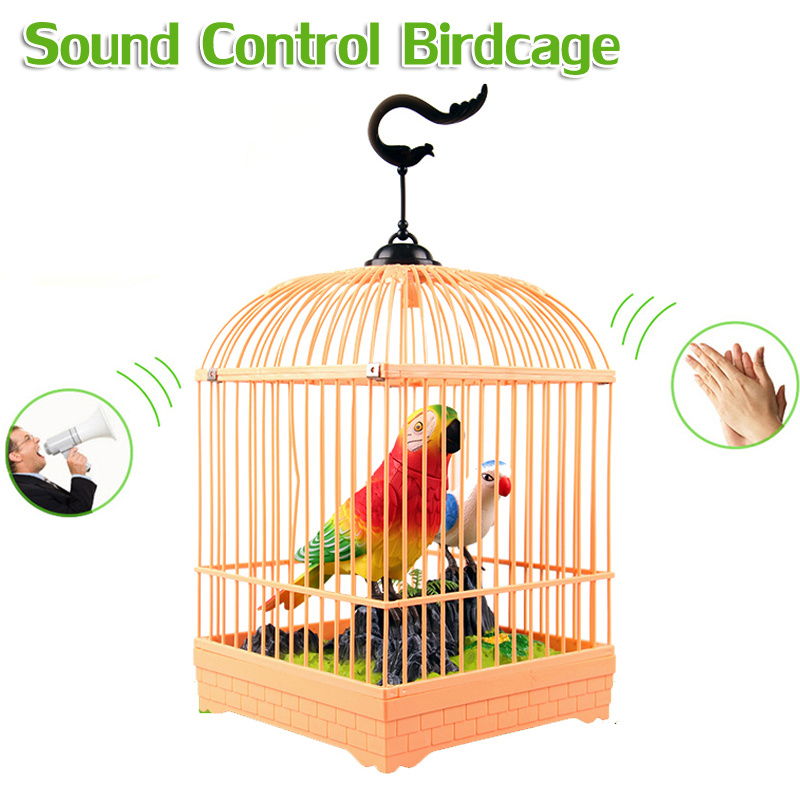 2017 Electronic Chirping Cage Bird Sound Control Sing & Light Parrot Battery Power Children Toys Bithday Gifts for Kids New