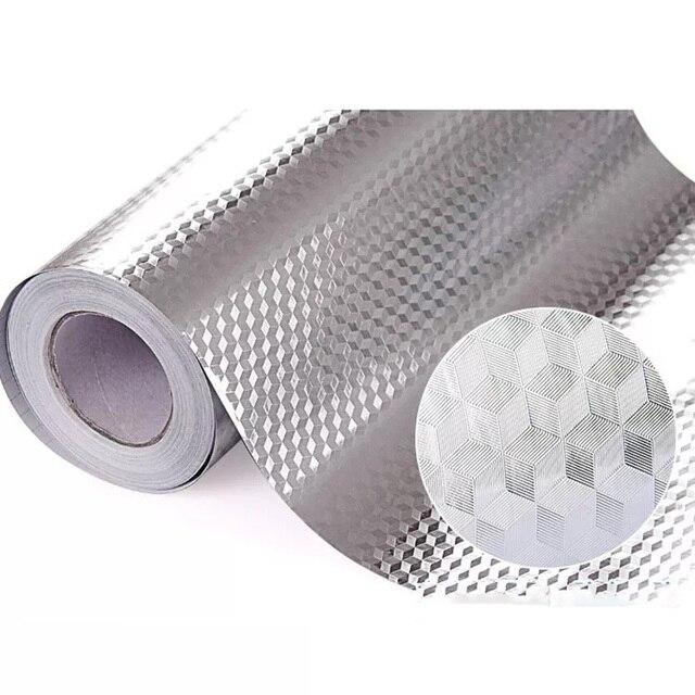 40x10 0/200ซม.ห้องครัวกันน้ำกันน้ำกันน้ำสติ๊กเกอร์อลูมิเนียมฟอยล์เตาครัวตู้Self Adhesive Wall Sticker DIYวอลล์เปเปอร์