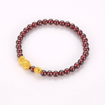 Solid 24k Yellow Gold Bracelet Bless Pixiu with Yuanbao and Garnet Bracelet