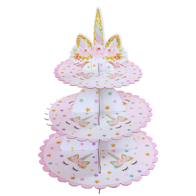 3 Tiers Cupcake Stand Unicorn Theme Kids Birthday Party Decoration