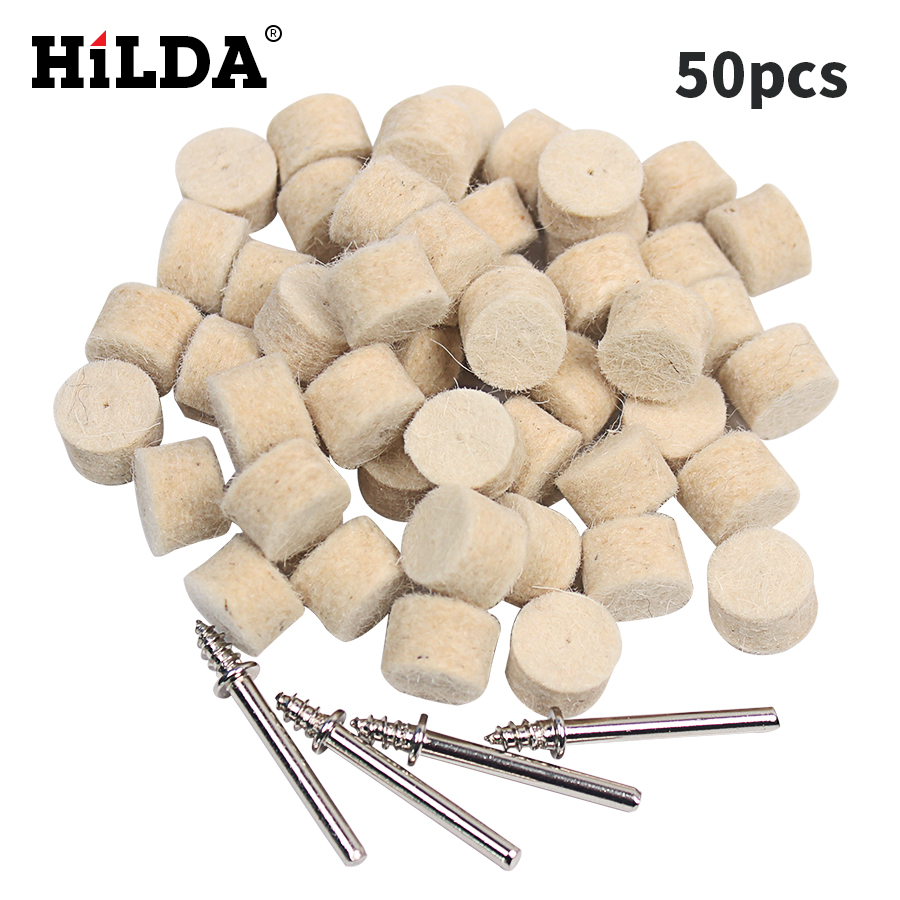 HILDA 50 pcs Wool Felt Polishing Buffing Wheel Grinding Polishing Pad+4pcs Shanks for Dremel Rotary Tool Dremel Accessories mx demel high quality 17pcs 1 2 felt polishing wheels dremel accessories fits for dremel rotary tools dremel tools small