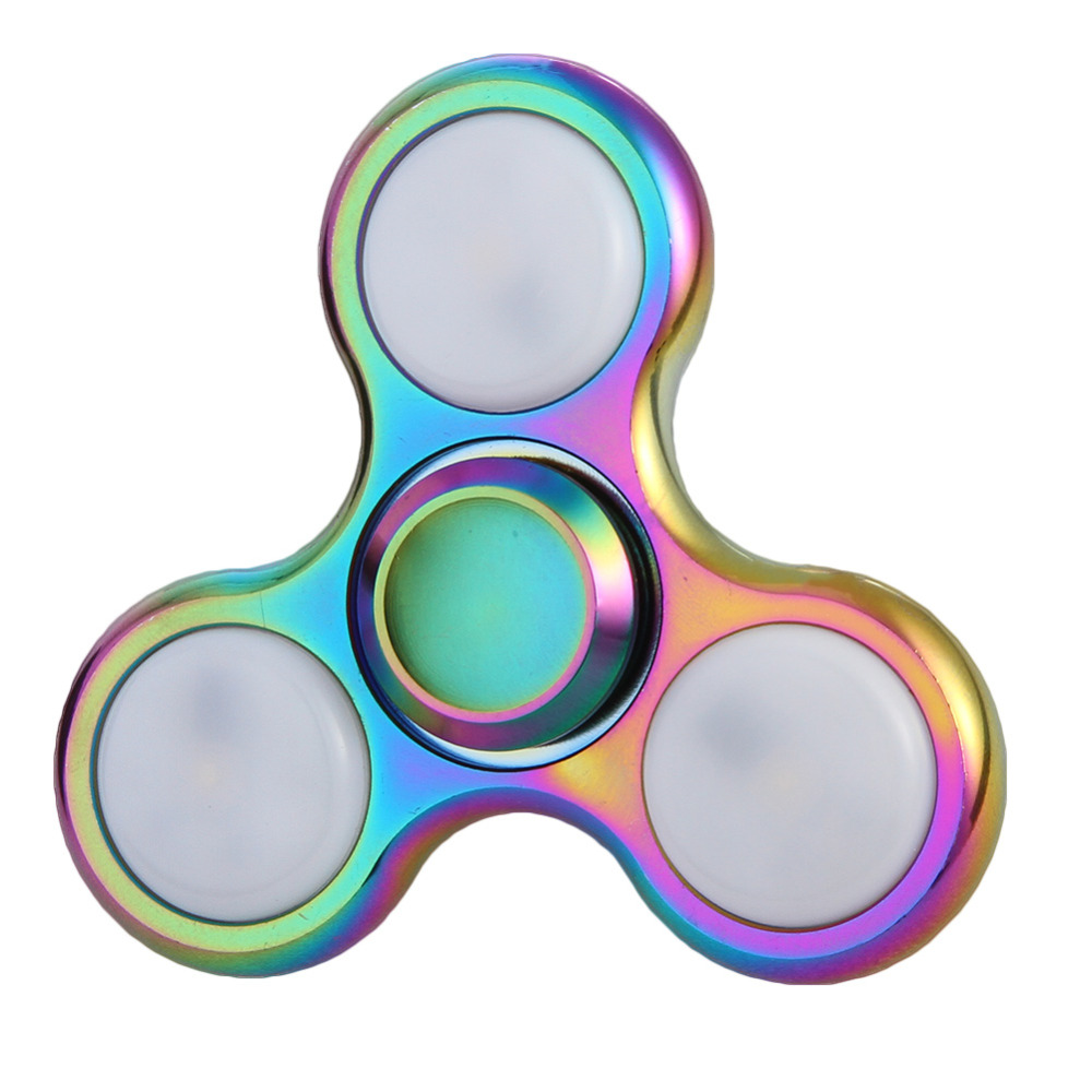 Rainbow LED Light Fidget Spinner Finger Metal EDC Hand Spinner For Autism and ADHD Relief Focus Anxiety Stress Toys Gift pudcoco metal boys girls rainbow fidget hand finger spinner focus edc bearing stress toys kids adults
