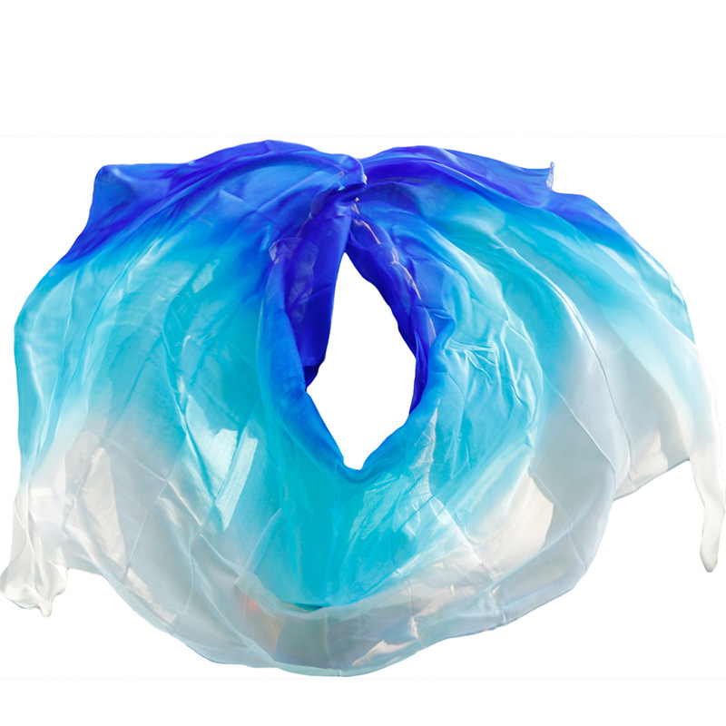 high quality women seidenschleier sexy belly dance veil scarf 100% authentic silk veil belly dance  white+turquoise+royal blue