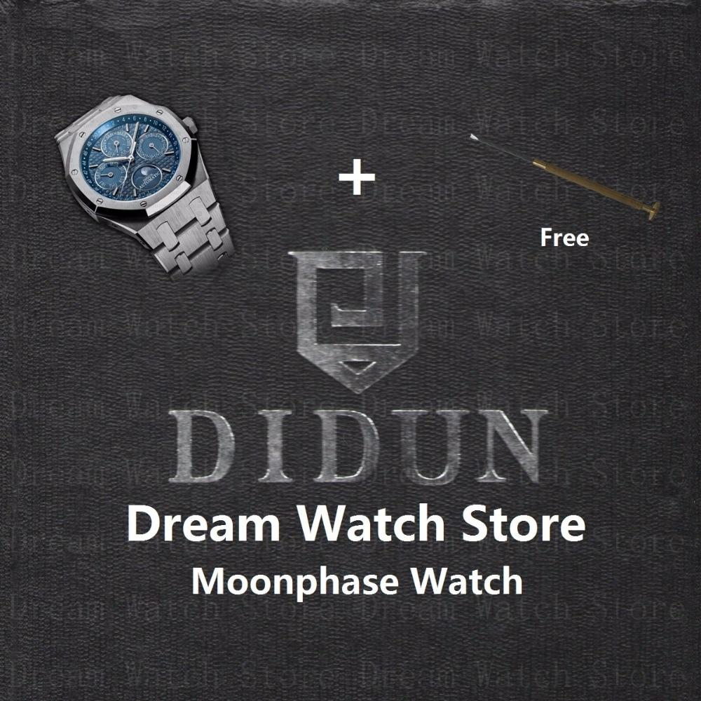 DIDUN часы мужские часы лучший бренд роскошный автоматический Шестерни S3 часы Водонепроницаемый Moonphase наручные с Нержавеющаясталь браслет