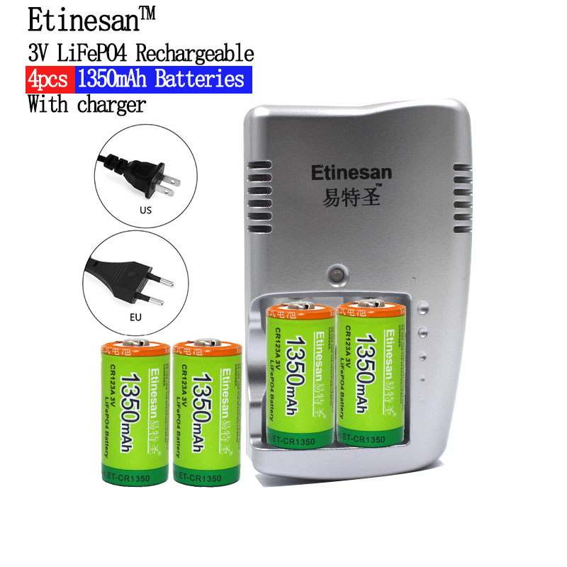 3v LiFePO4 CR123A Rechargeable batteries 4pcs Etinesan cr123a 3.0v 16340 1350mah lithium battery +2slots cr123a battery charger ...