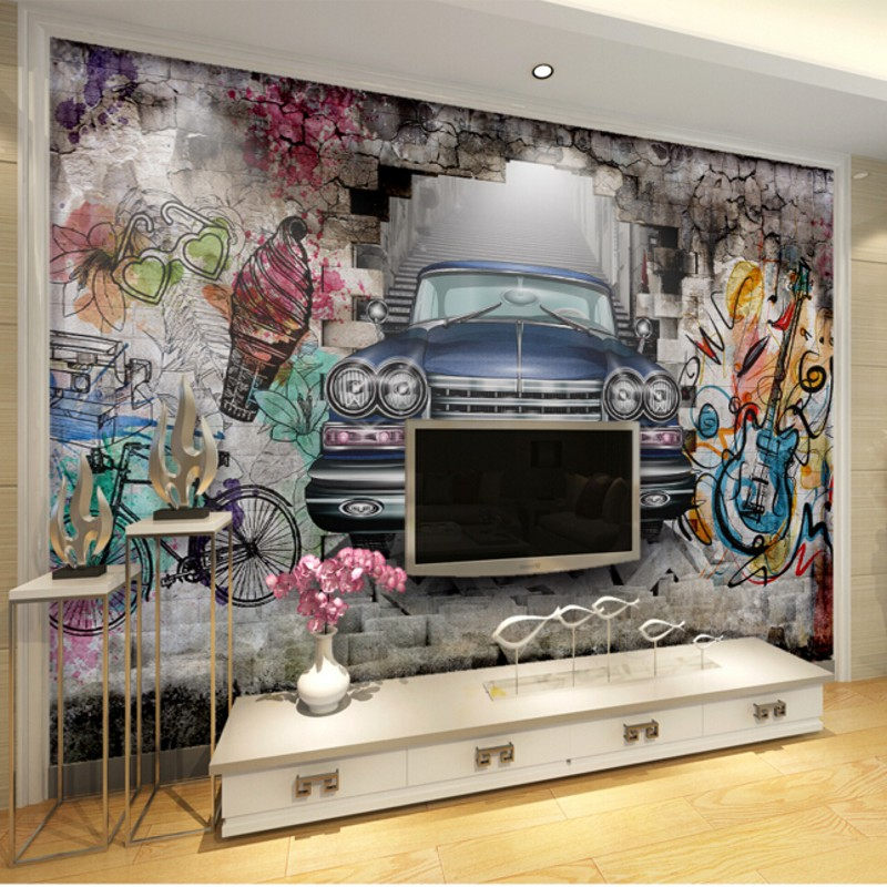 beibehang Custom <font><b>wallpaper</b></font> <font><b>3D</b></font> stereoscopic retro <font><b>car</b></font> painted graffiti backdrop decorative painting murals background <font><b>wallpaper</b></font> image