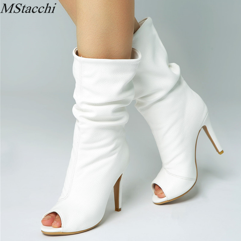Mstacchi Spring Summer Autumn White Ladies High Heels Boots For Women Peep Toe Mid Calf Boots Fancy Dress Party Plus Size 34 47