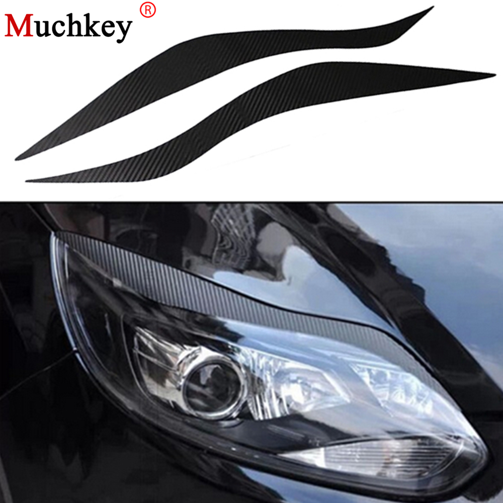 Car Carbon Fiber Headlights Brow Sticker Exterior Accessories Decoration Products For Ford Focus 3 2012 2013 2014 Free Shipping