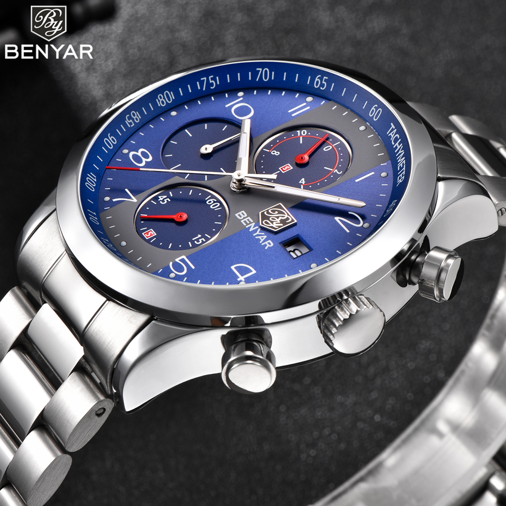 BENYAR Blue Face Mens Watches Top Brand Luxury Waterproof Date Quartz Watch Full Steel Band Business Sport Wristwatch Men 2018 didun mens watches top brand luxury watches men steel quartz brand watches men business watch luminous wristwatch water resist