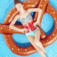 Pretzel Yüzmek Havuzu Şişme Hava Yatak Şişme Daire Halka Şamandıra Yüzen Kickboard Su Tekne Yaz Parti Şişme Donut