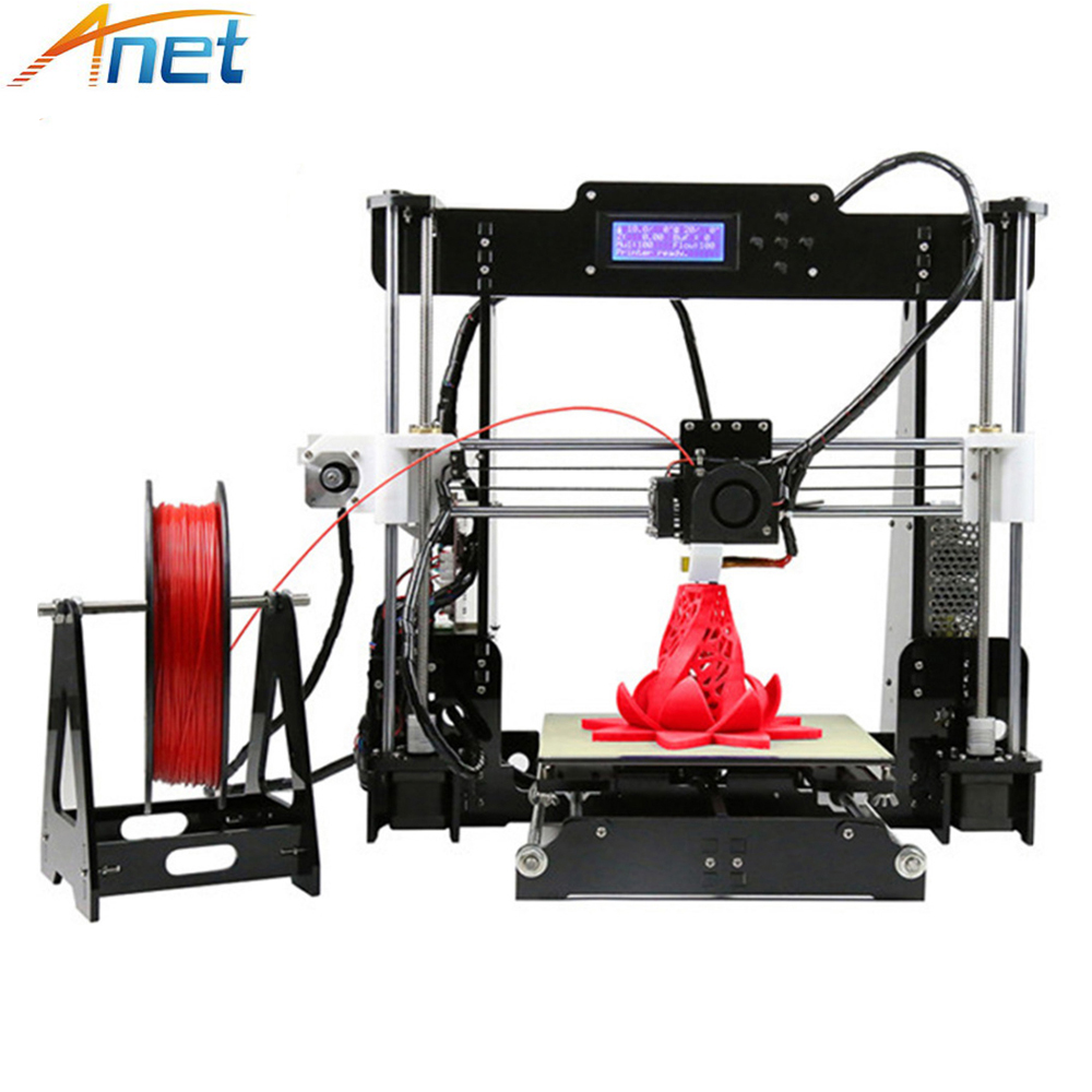 Easy Assemble Anet A6 A8 3D Printer Kit High Precision Reprap i3 DIY 3D Printing Machine+ Hotbed+Filament+SD Card+LCD 2017 new anet easy assemble 3d printer upgrated reprap prusa i3 3d printer large print size kit diy with filament 16gb sd card