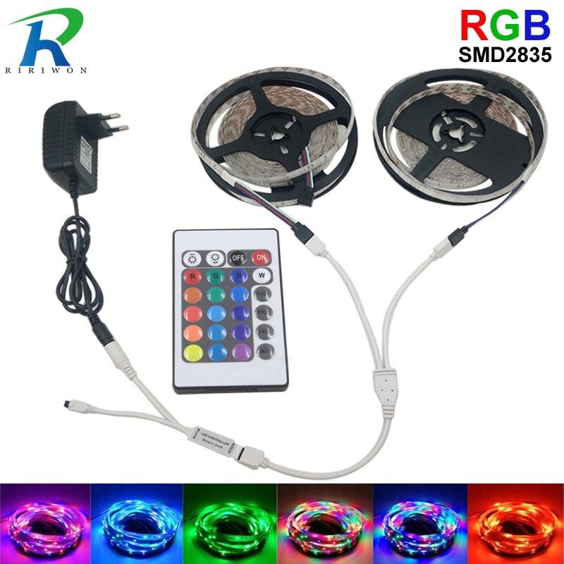 RGB LED Strip Light 3528 SMD2835 Flexible LED Strip Waterproof Tape Diode Ribbon 5M 10M 15M 20M RGB DC12V Stripes Kti Controller