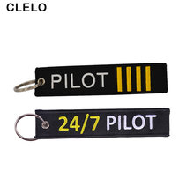CLELO Flight Pilot Luggage Tag Embroidery travel tag With Key Ring Keychain Special Gift for Aviation Lovers FLight Crew(China)
