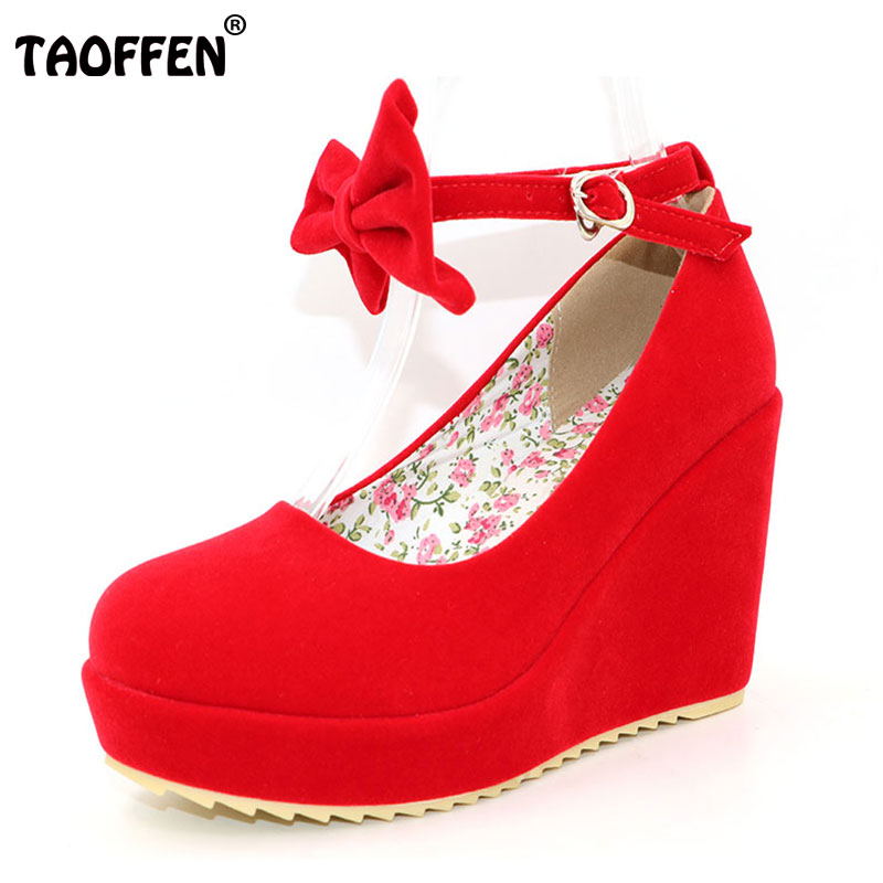 TAOFFEN Women Buckle Ladies Shoes Wedges High Heels Platform black bow Pumps tenis feminino sapato feminino size32-39 PA00894 туфли на высоком каблуке tenis feminino femininos sapatos sapato feminino platform shoes