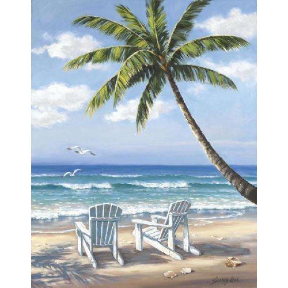 Hand painted landscape oil pictures canvas large wall painting Hidden Beach pop art for living room decor