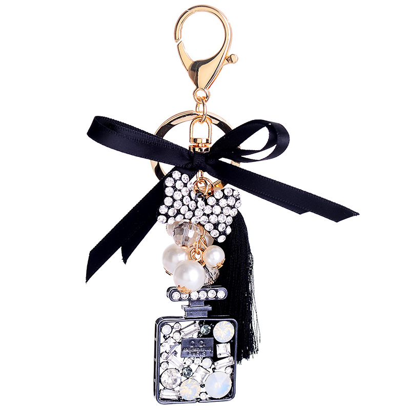 The New Classic Butterfly Perfume Bottle Keychains  Ice Silk Tassel Car Key Ring Holder Jewelry Bag Pendant Gift
