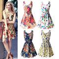 Summer Fashion Women Sexy Chiffon Sleeveless Sundress Beach Floral Tank Mini Dresses