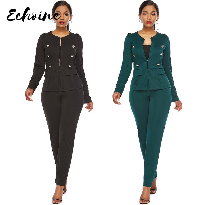 Echoine Autumn/Spring Long Sleeve Buttons Blazer Top Long Pants Office Work 2 Two Pieces Suit Outfits For Women Black/Green