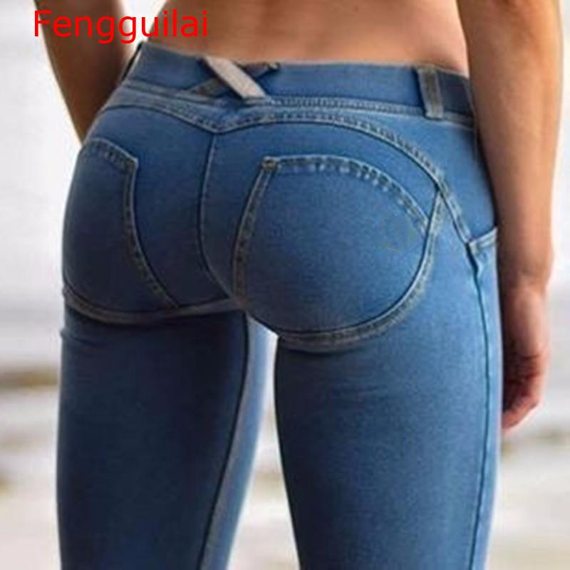 Fengguilai Sexy Women Casual Jeans Skinny Lift Butt Leggings Bodycon Low Waist Denim Pants Push Up Hip Pencil Lift Jeans Women H