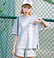 2016 Summer Women's Casual Two-piece Women's Solid Color Suit Loose T shirt and Shorts 2 Piece Set Women Tracksuit