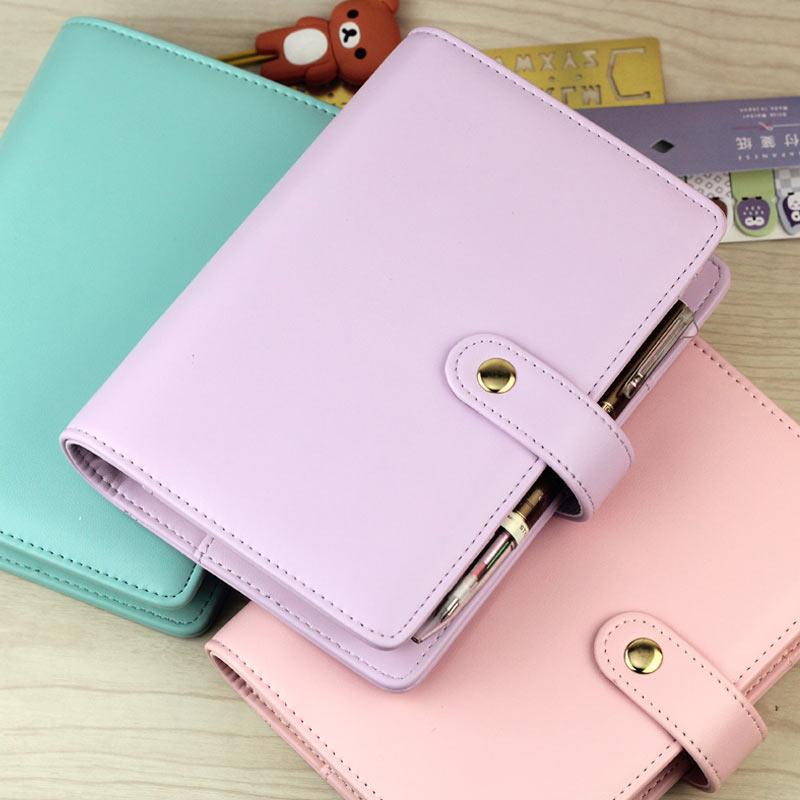 A5 A6 Jamie Yiwi Kulit Imitasi Snap 6 lepas Leaf Planner Diary Notebook Cocokkan halaman pengisi Kikki