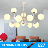Green Eye Nordic pendant lights With Iron Lampshade For Living Room led bulb AC 110V 220V Modern Wooden Lustres hanglamp 2245