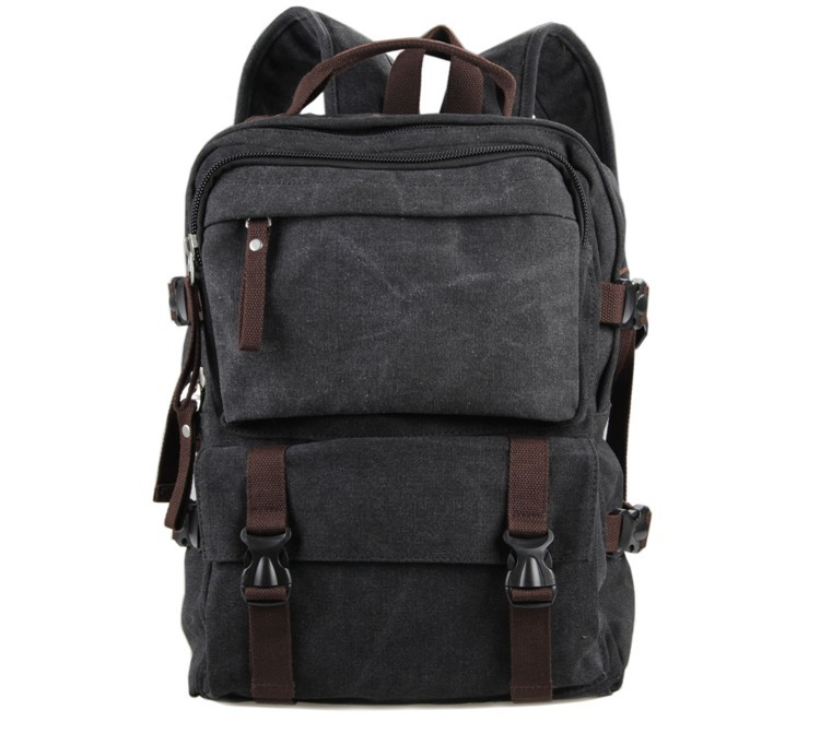 ФОТО High Quality Men Canvas Backpack 16 inch Laptop Travel Tote Bag Casual Durable Daypack Fashion Boy Canvas Rucksack 9018A