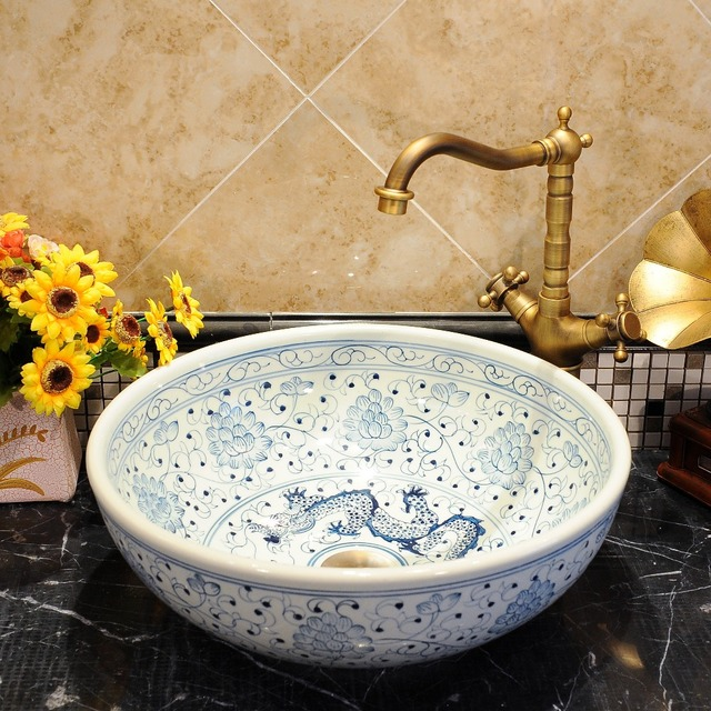 Round Bathroom Counter Top Wash Basin Cloakroom Hand Painted Vessel Sink  Bathroom Sinks Blue And White